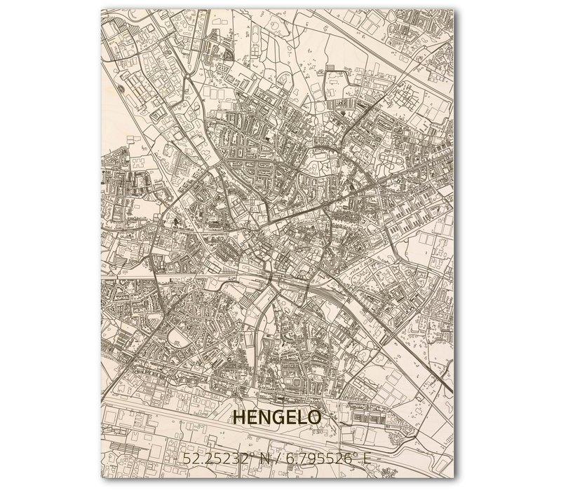 Stadtplan Hengelo | Wanddekoration Holz