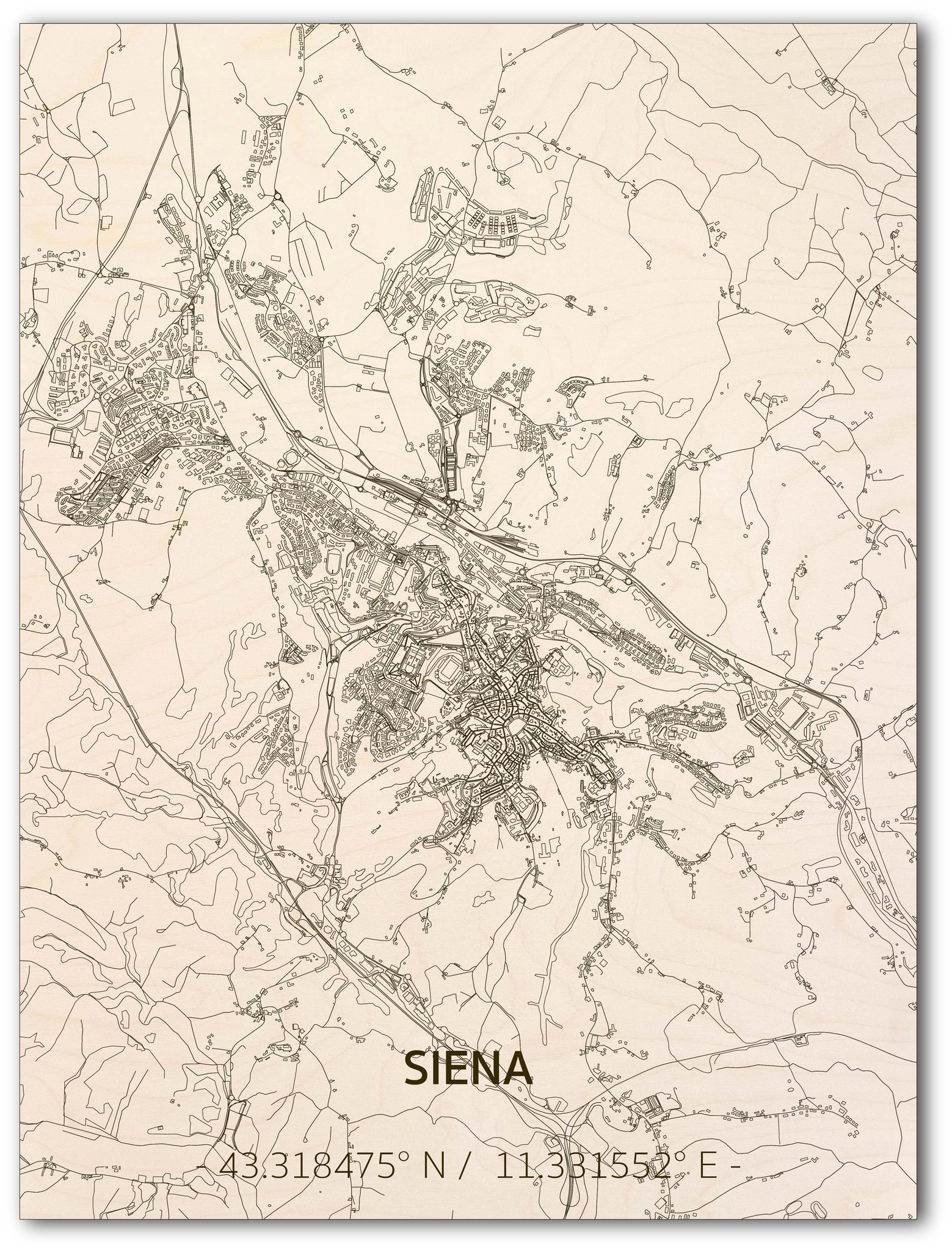 Citymap Siena | wooden wall decoration-1