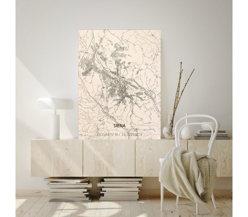 Stadtplan Siena   Wanddekoration Holz