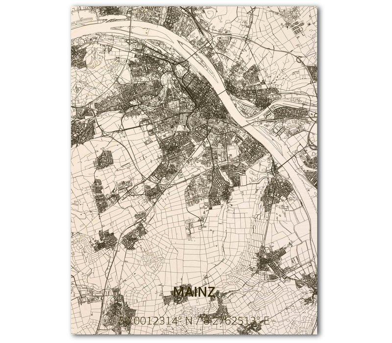 Citymap Mainz   houten wanddecoratie