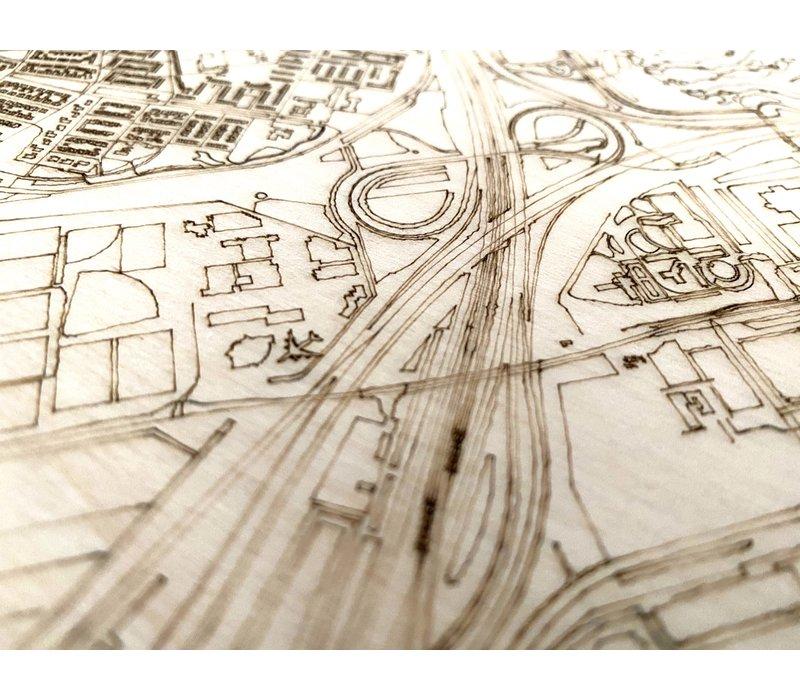 Stadtplan Schiphol | Wanddekoration Holz