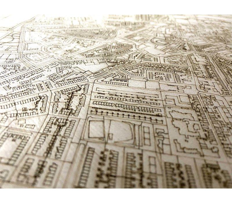 Citymap Beverwijk | houten wanddecoratie