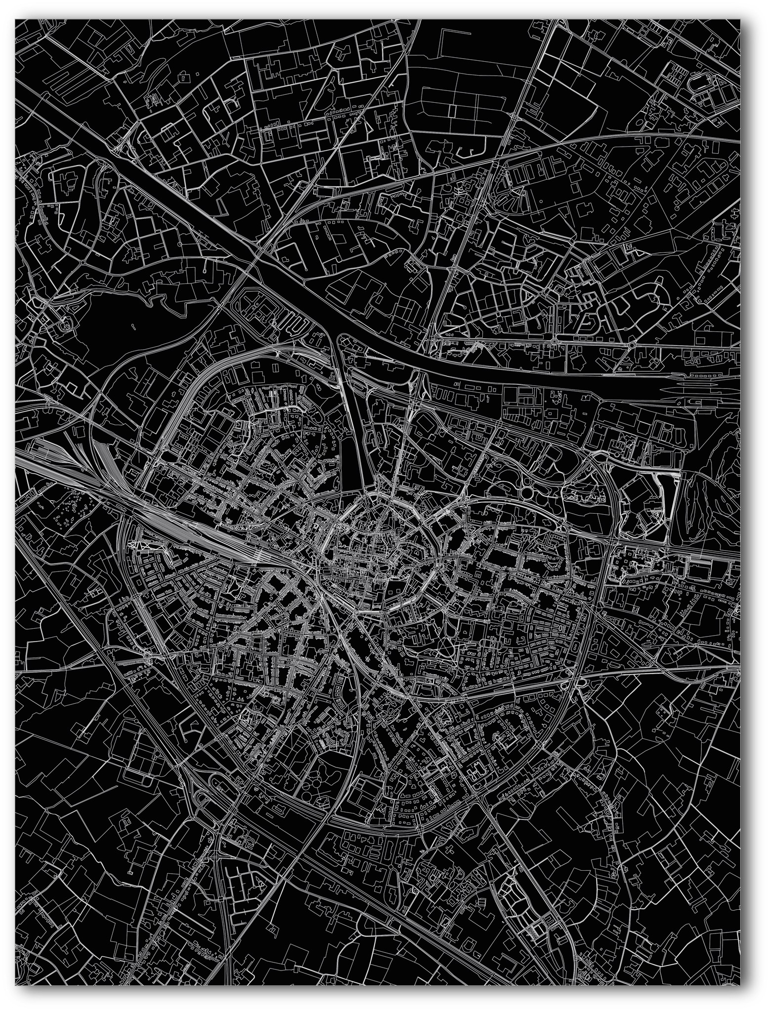 Stadtkarte Hasselt | Aluminium Wanddekoration-3