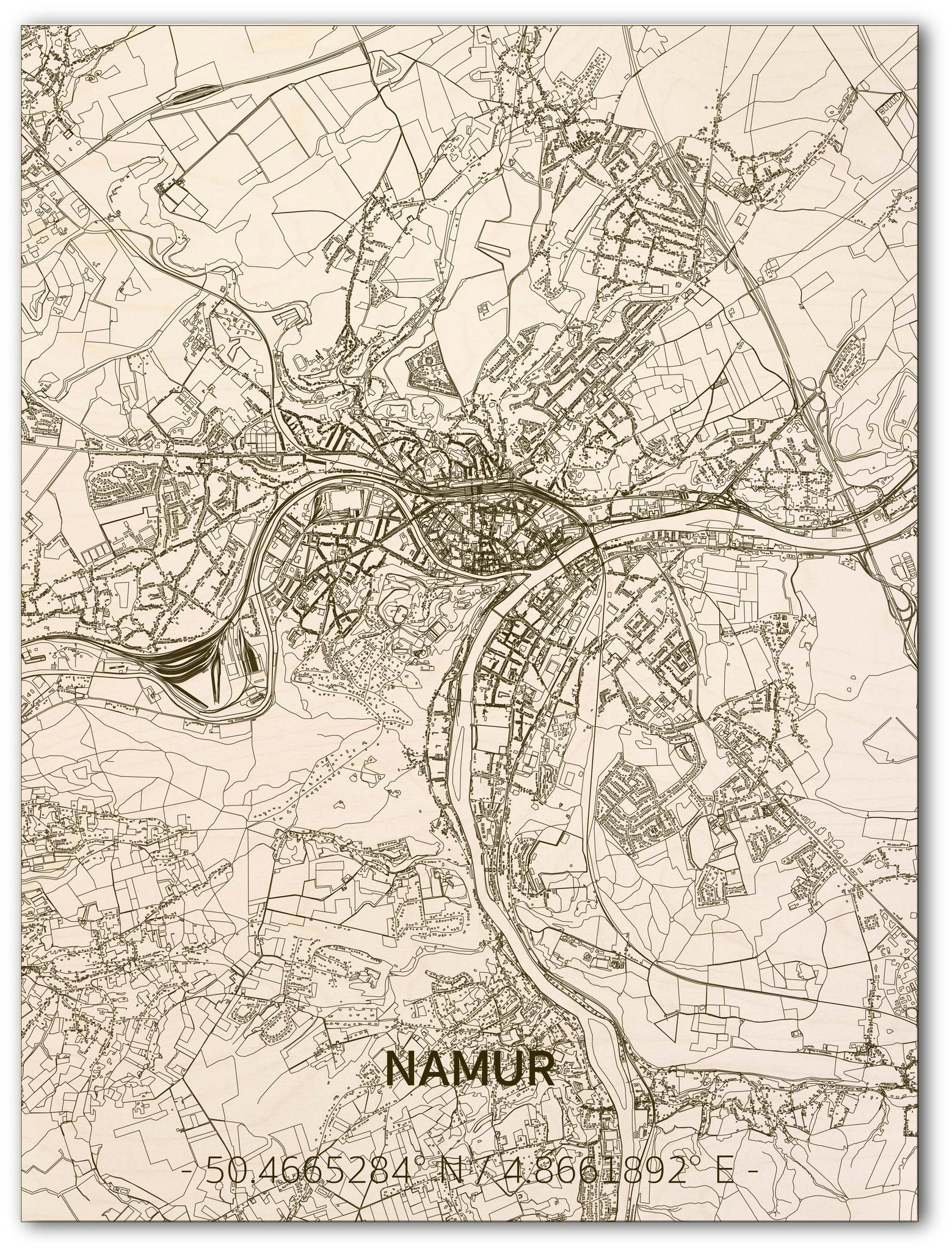 Stadtplan Namur | Wanddekoration Holz-1