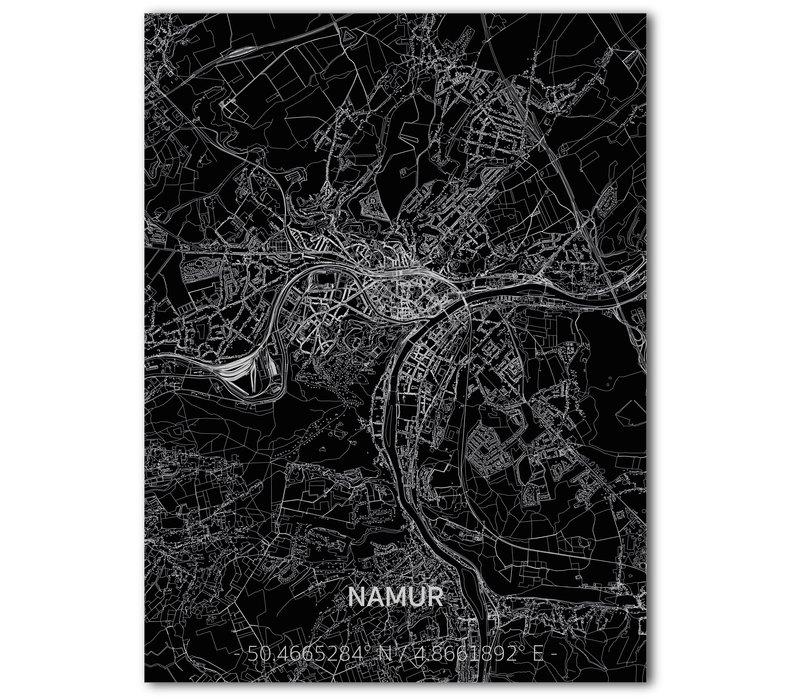 Stadtkarte Namur   Aluminium Wanddekoration