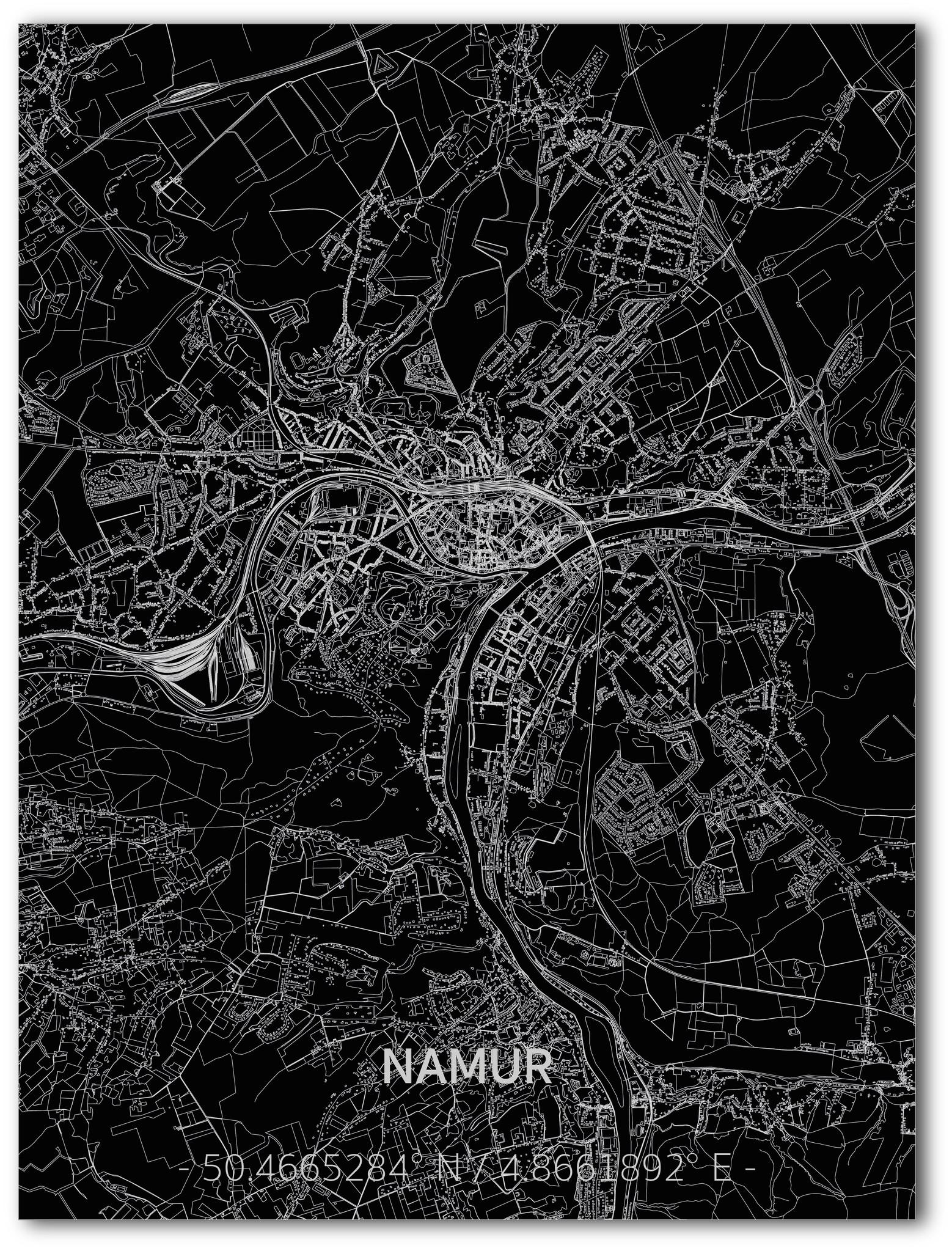 Stadtkarte Namur | Aluminium Wanddekoration-1