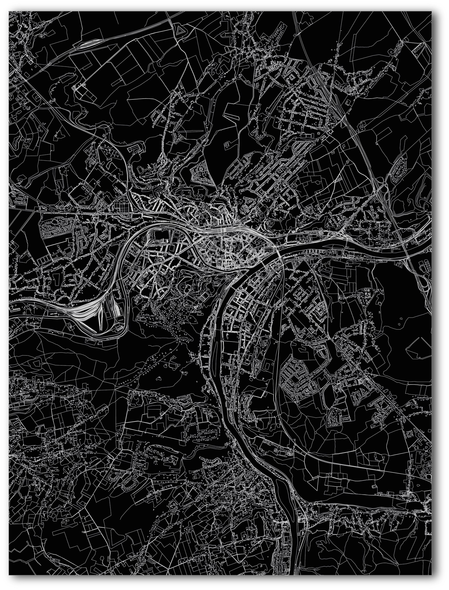 Stadtkarte Namur | Aluminium Wanddekoration-3