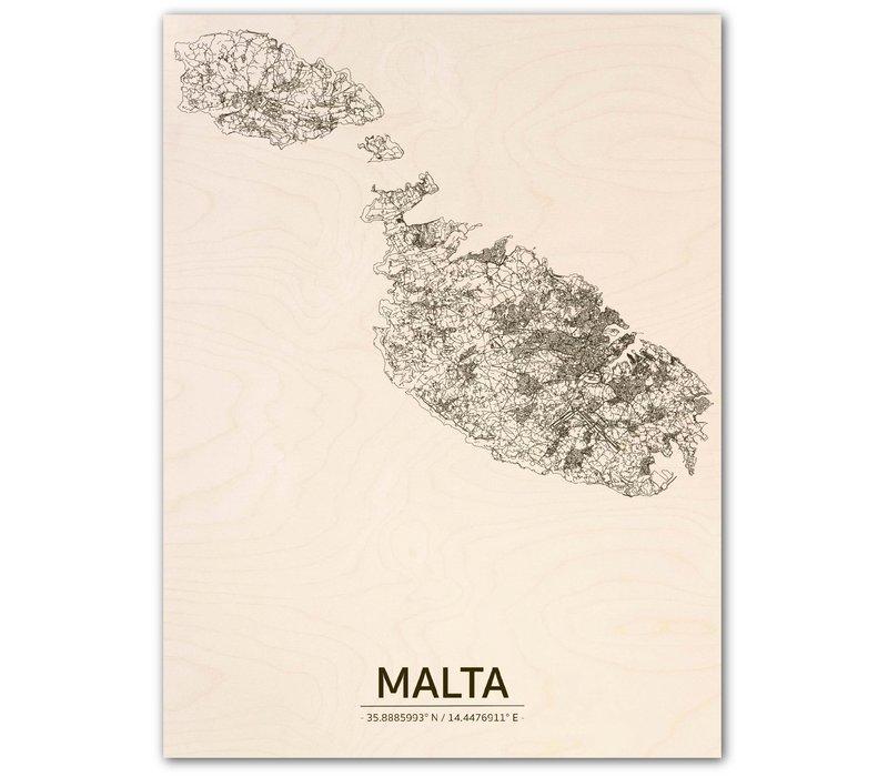 Citymap Malta | houten wanddecoratie