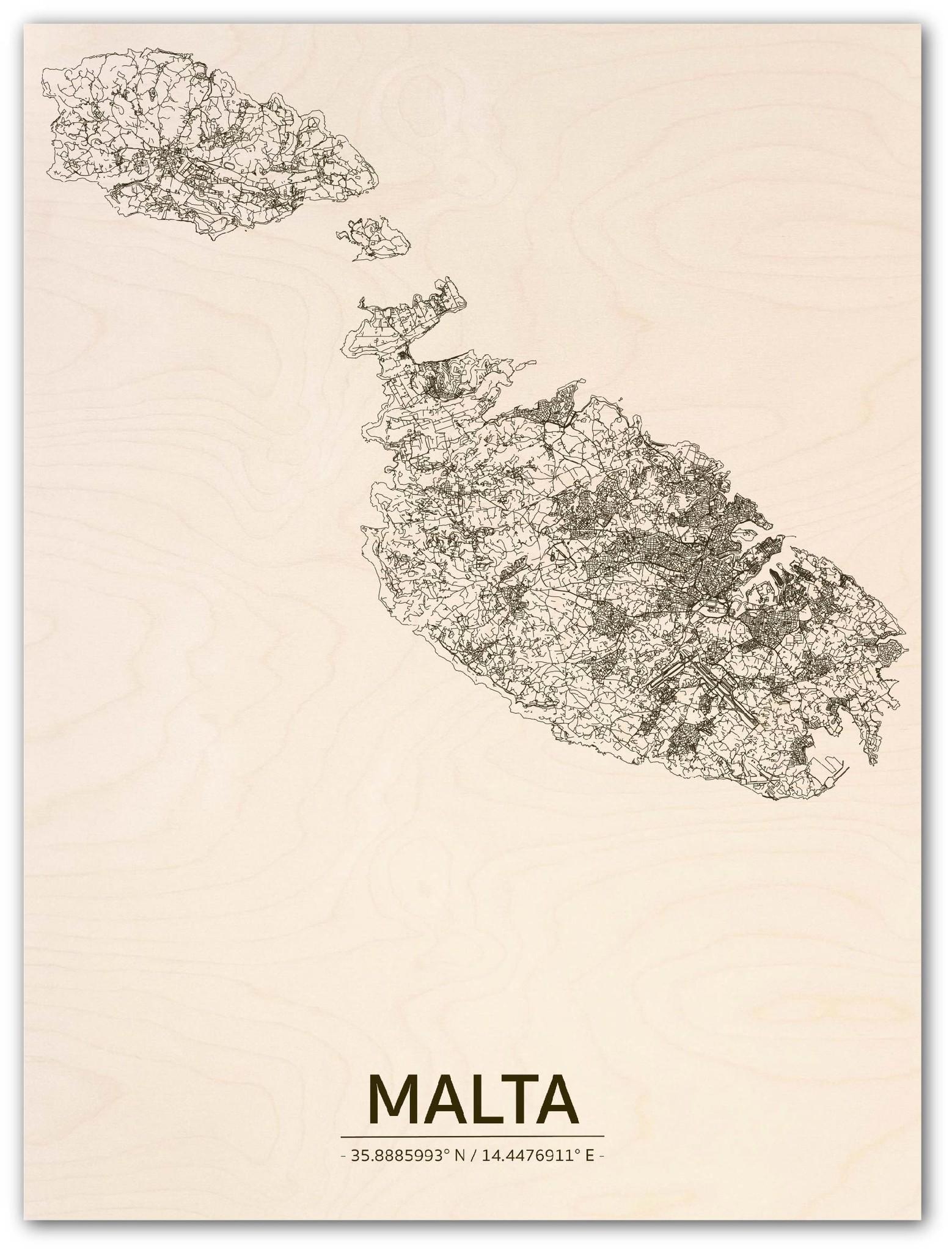 Stadtplan Malta | Wanddekoration Holz-1