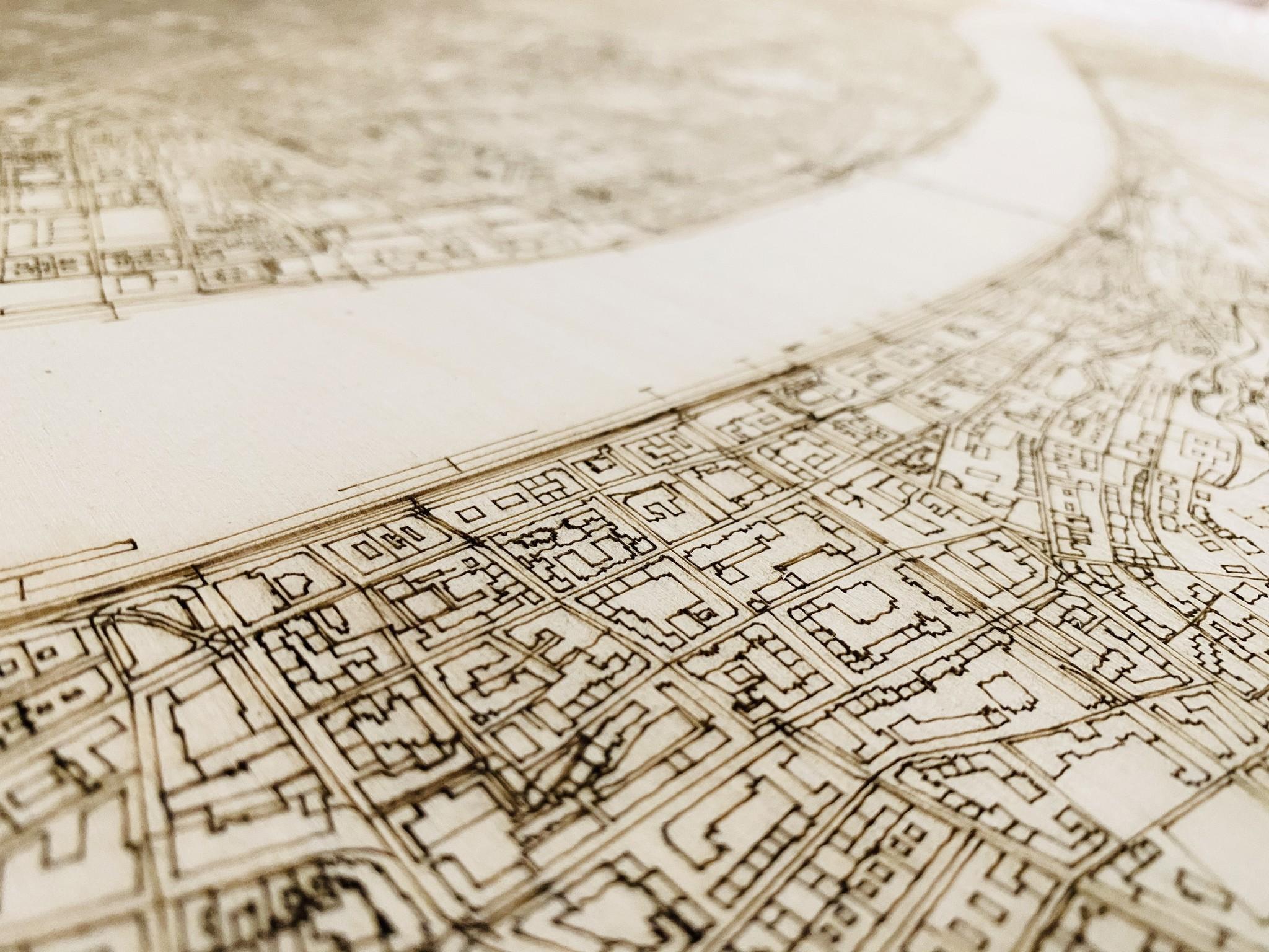 Stadtplan Budapest | Wanddekoration Holz-3