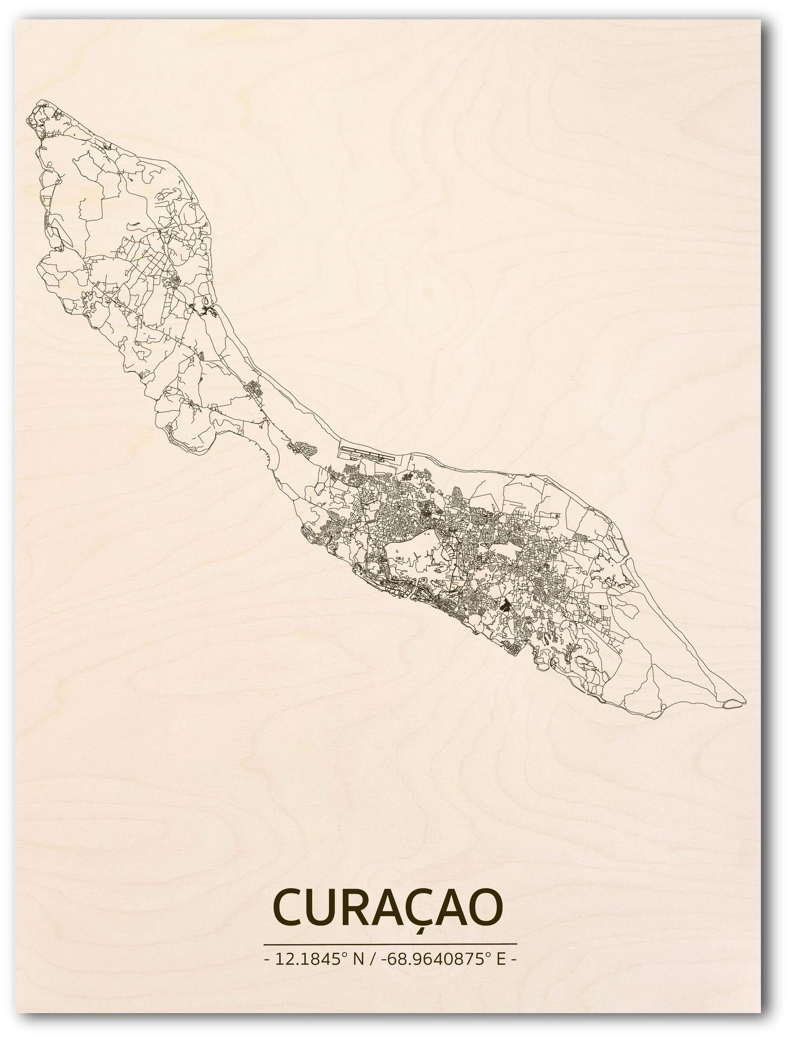 Citymap Curaçao | wooden wall decoration-1