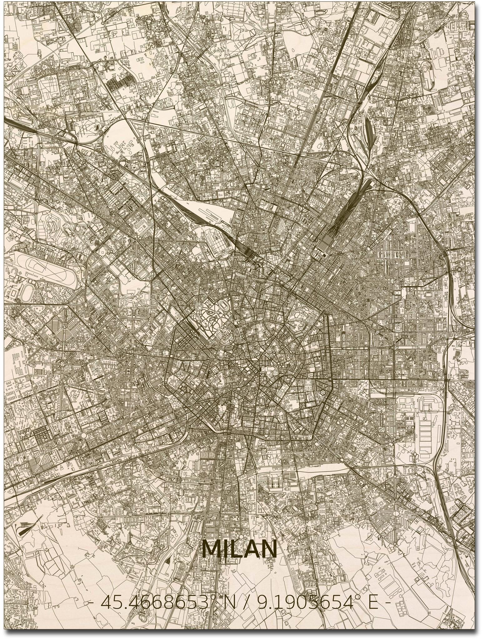 Stadtplan Mailand | Wanddekoration Holz-1