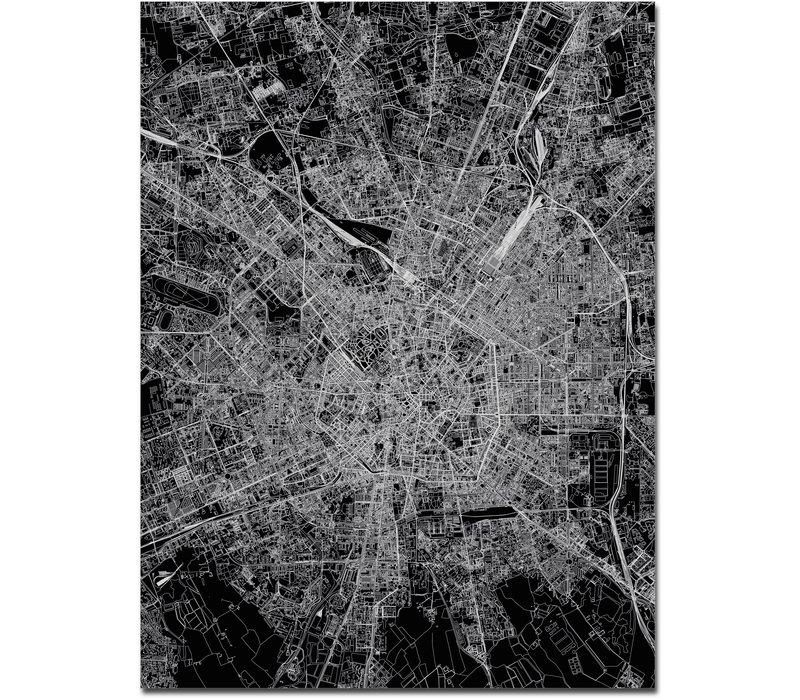 Citymap Milaan | Aluminium wanddecoratie