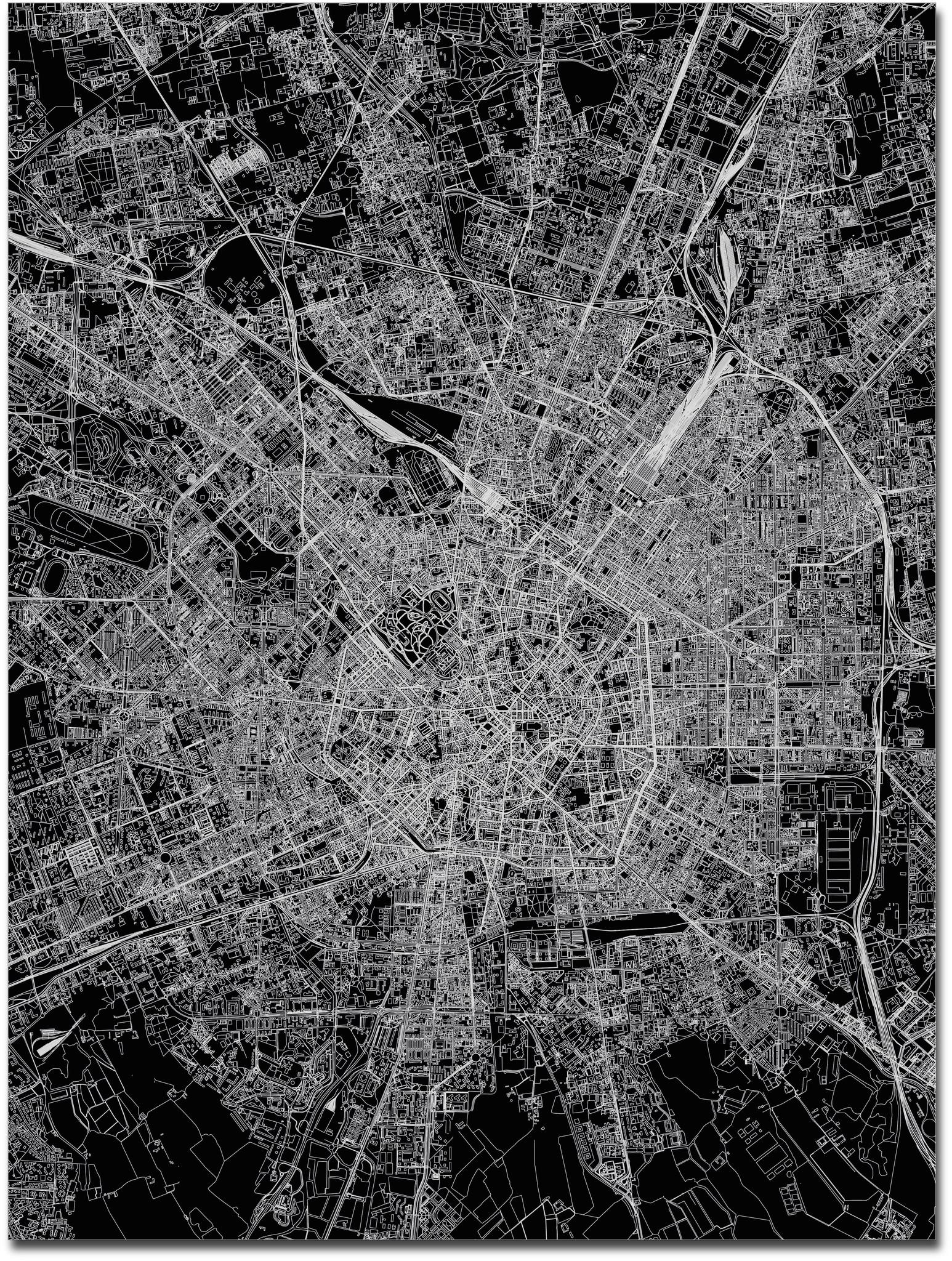 Stadtkarte Mailand | Aluminium Wanddekoration-3