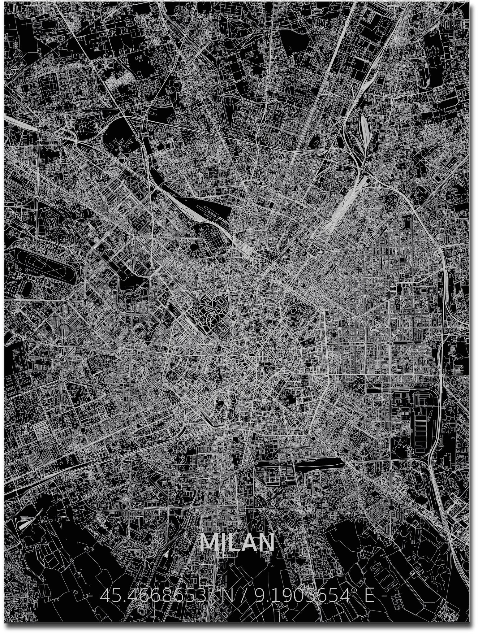 Stadtkarte Mailand | Aluminium Wanddekoration-1