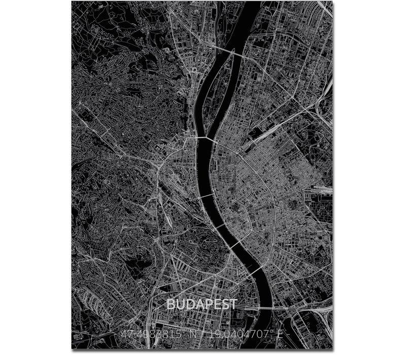Stadtkarte Budapest | Aluminium Wanddekoration