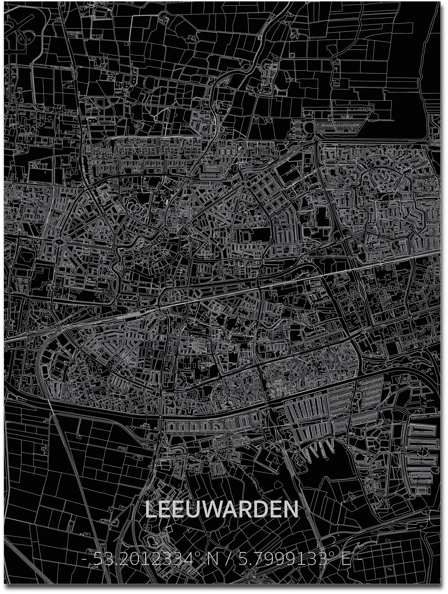 Citymap Leeuwarden | Aluminum wall decoration-1