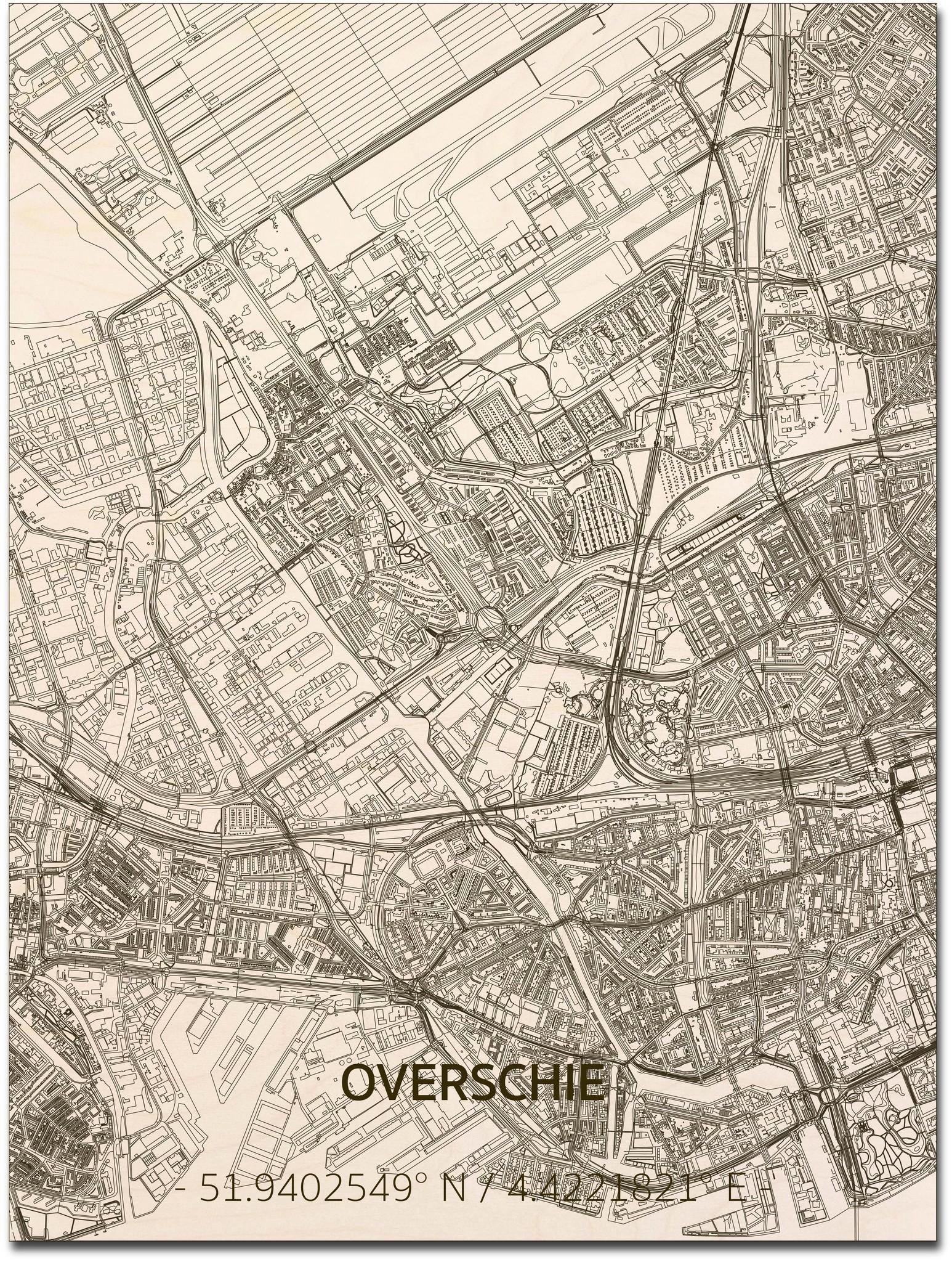 Stadtplan Overschie | Wanddekoration Holz-1