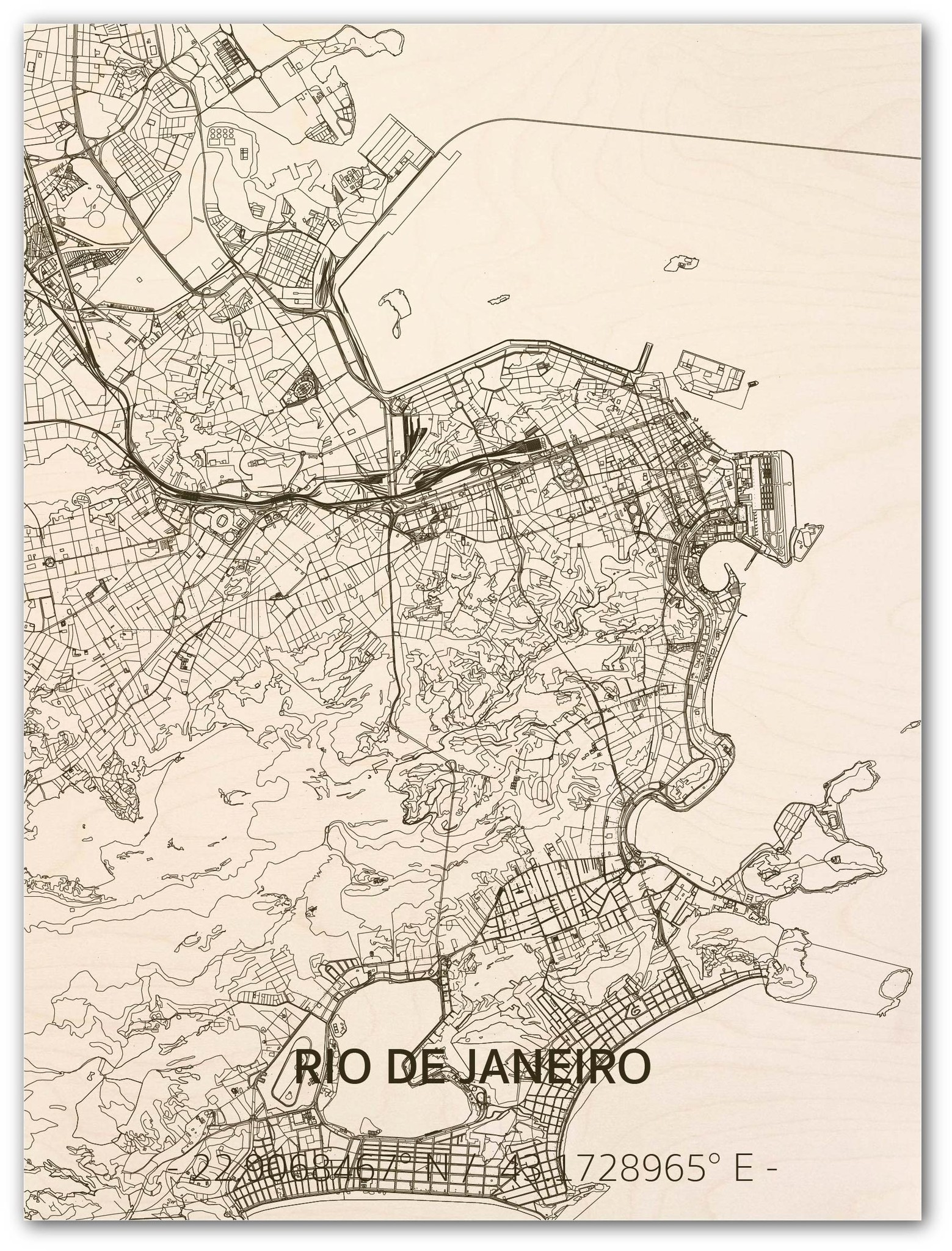 Citymap Rio de Janeiro  | houten wanddecoratie-1