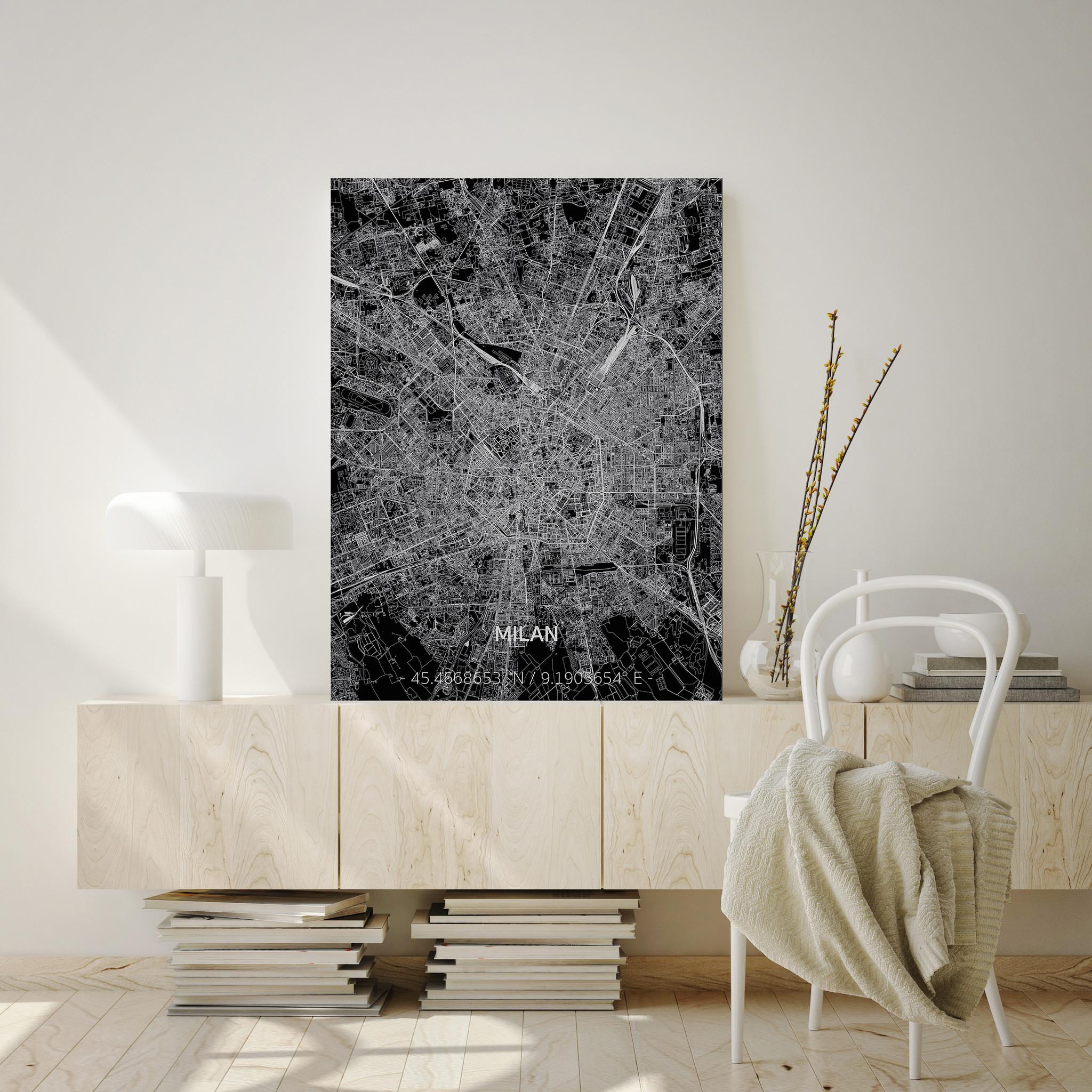 Stadtkarte Mailand | Aluminium Wanddekoration-2