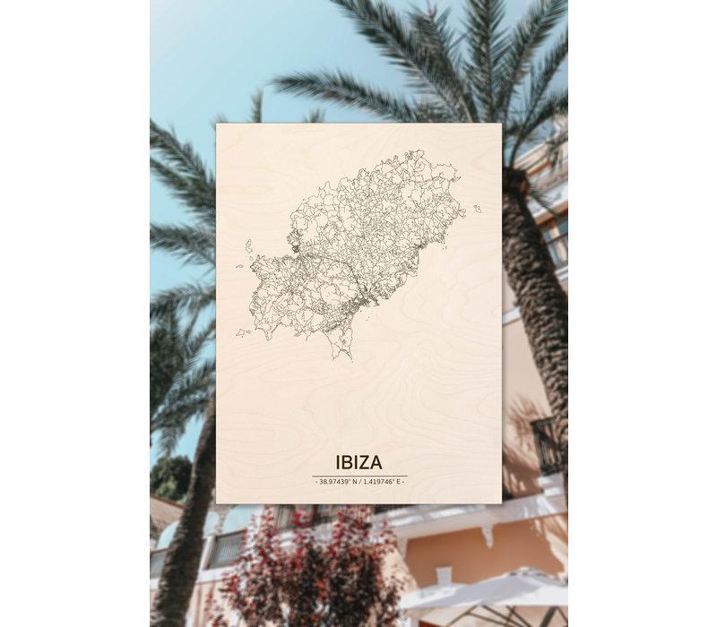 Stadtplan Ibiza | Wanddekoration Holz