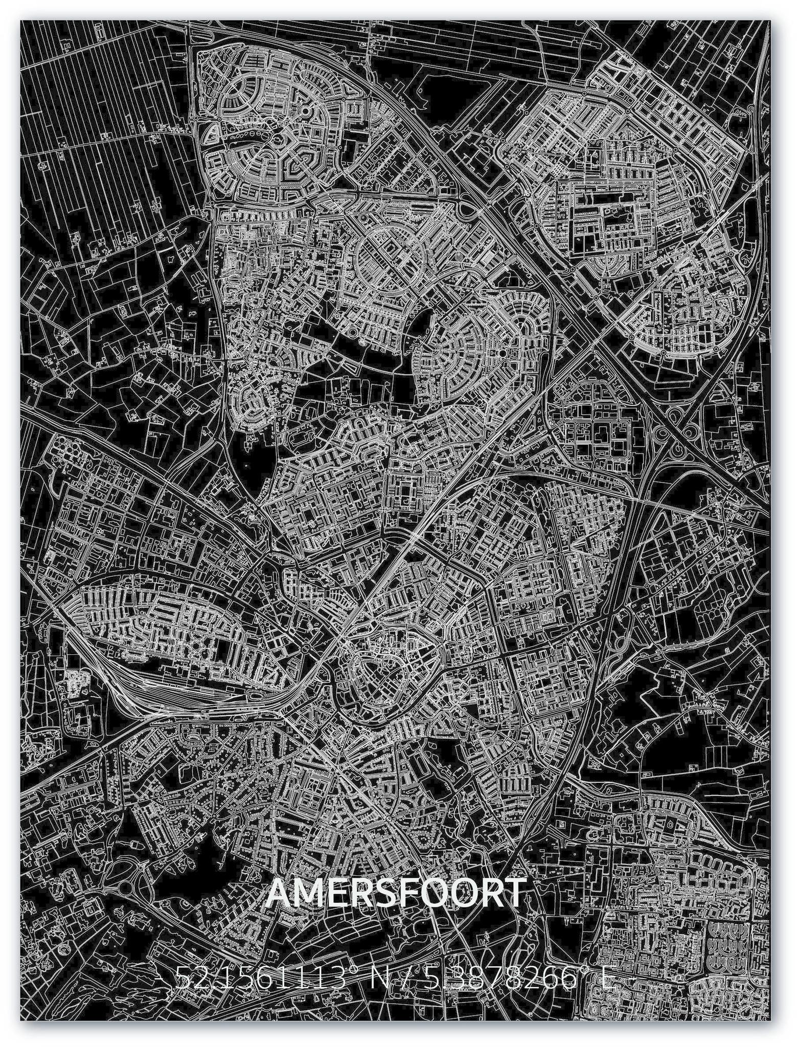 Stadtkarte Amersfoort | Aluminium Wanddekoration-1