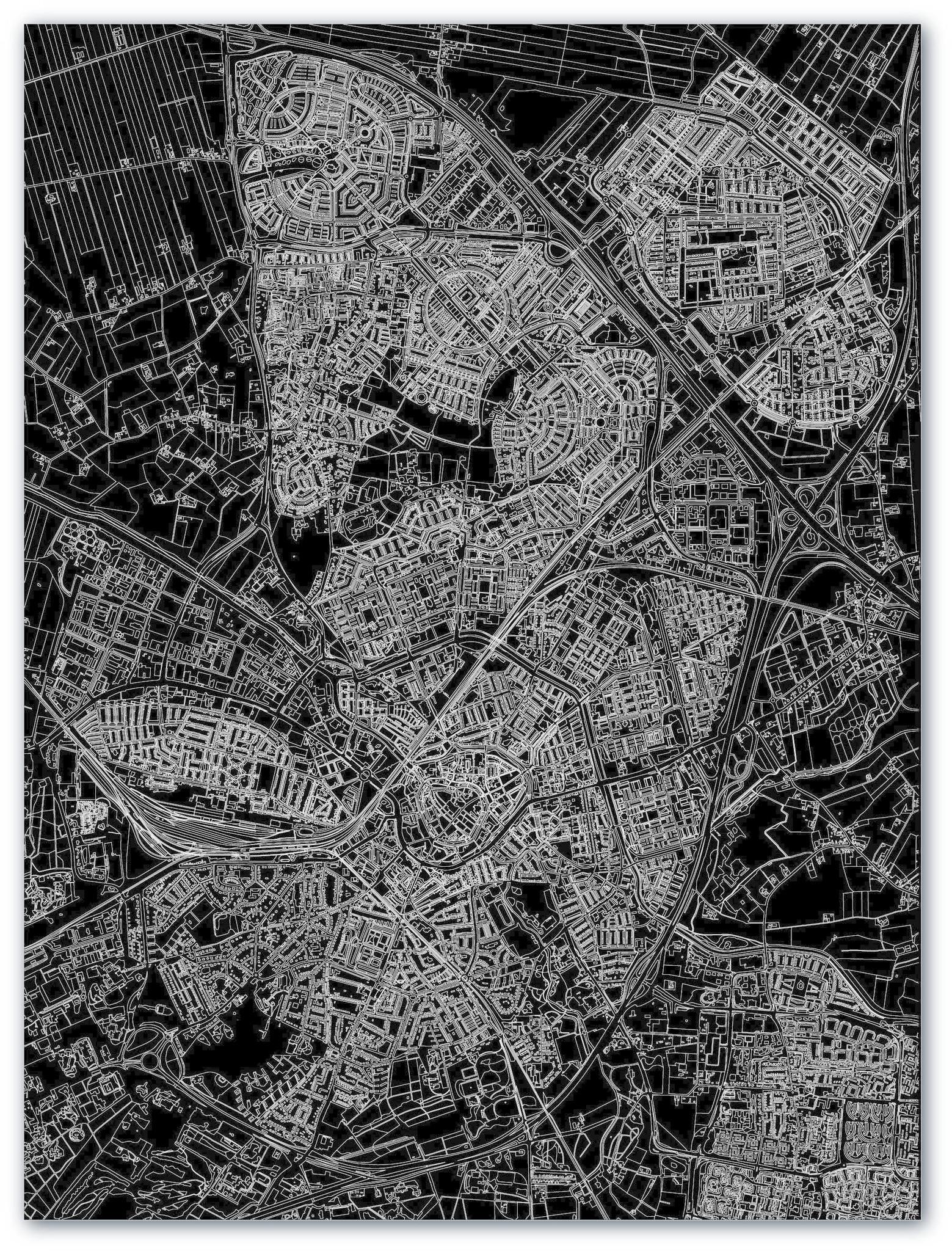 Stadtkarte Amersfoort | Aluminium Wanddekoration-3