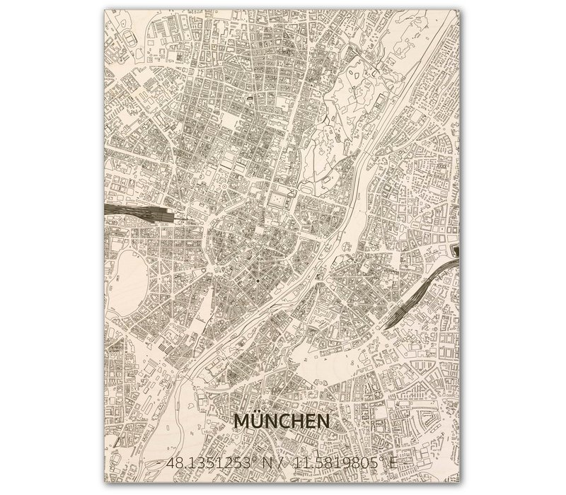 WOODEN WALL DECORATION MUNICH CITYMAP