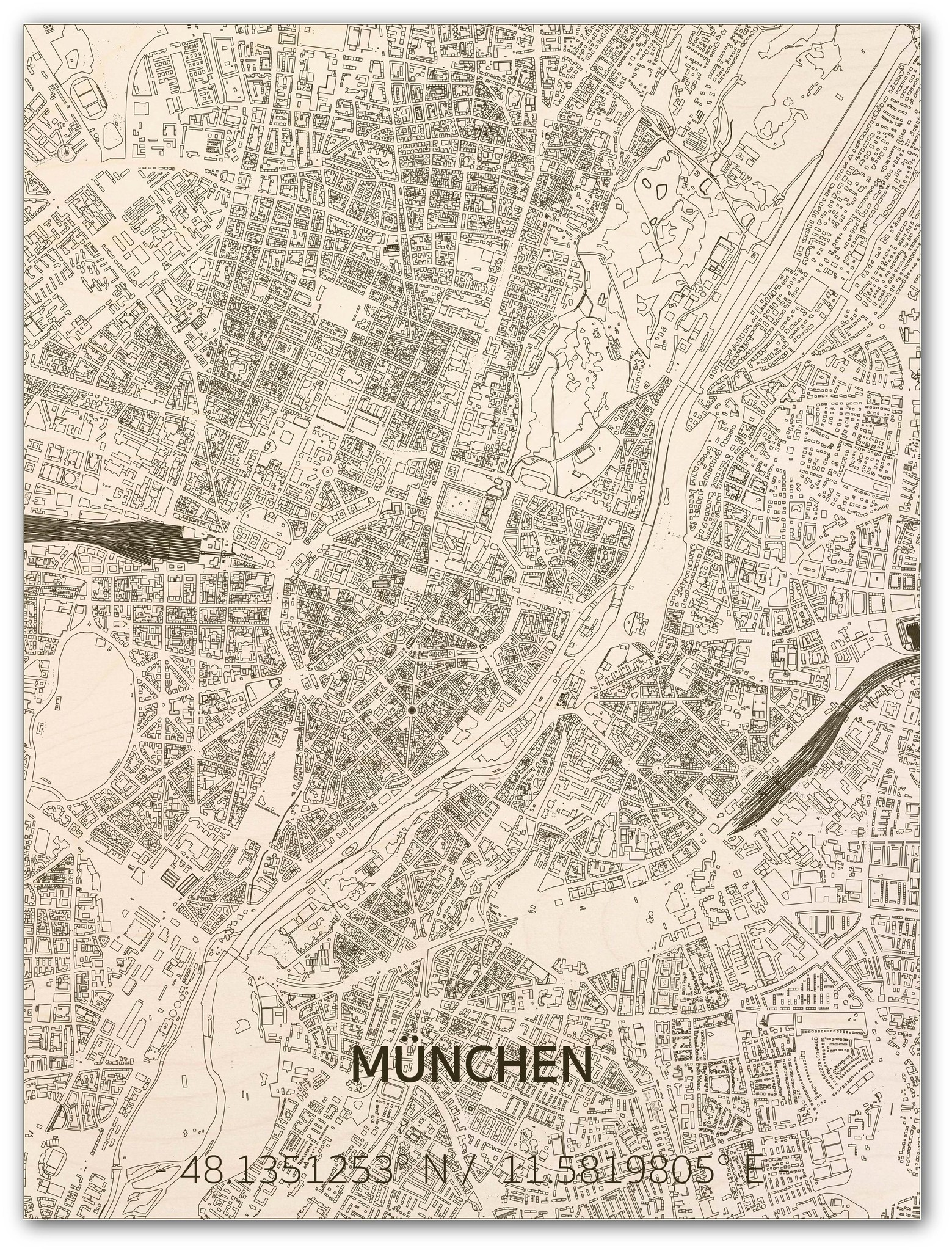 Wandbild Stadtplan München | Wanddekoration Holz-1