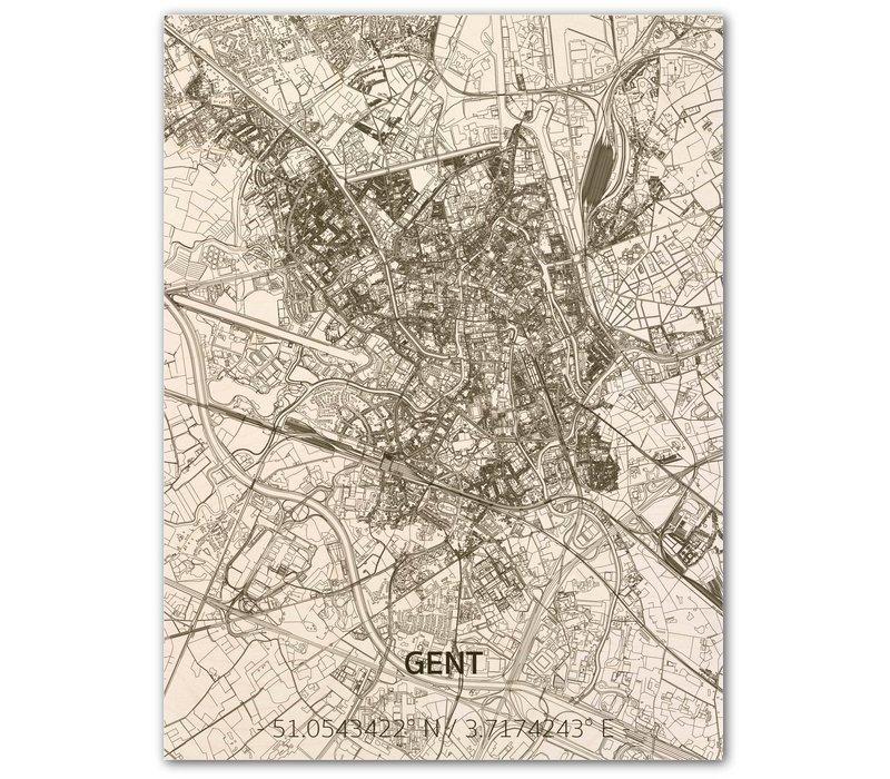 WOODEN WALL DECORATION GHENT CITYMAP