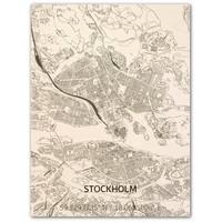 Stadtplan Stockholm | Wanddekoration Holz