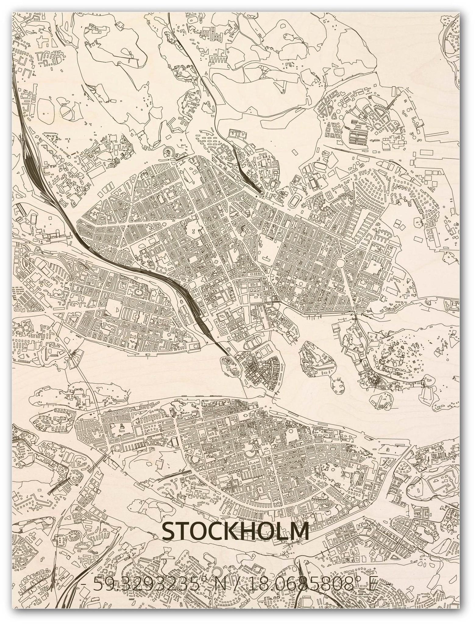 Stadtplan Stockholm | Wanddekoration Holz-1