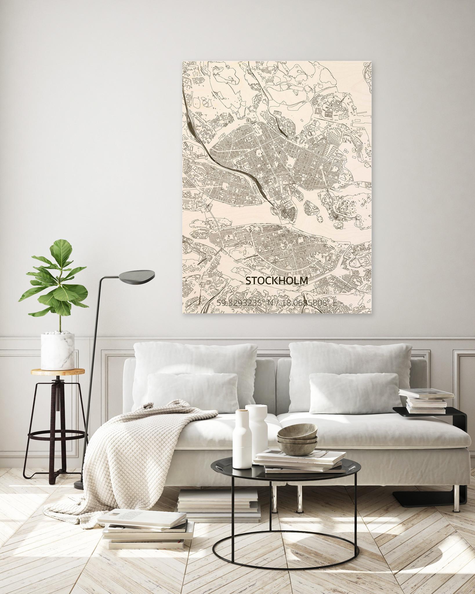 Stadtplan Stockholm | Wanddekoration Holz-2