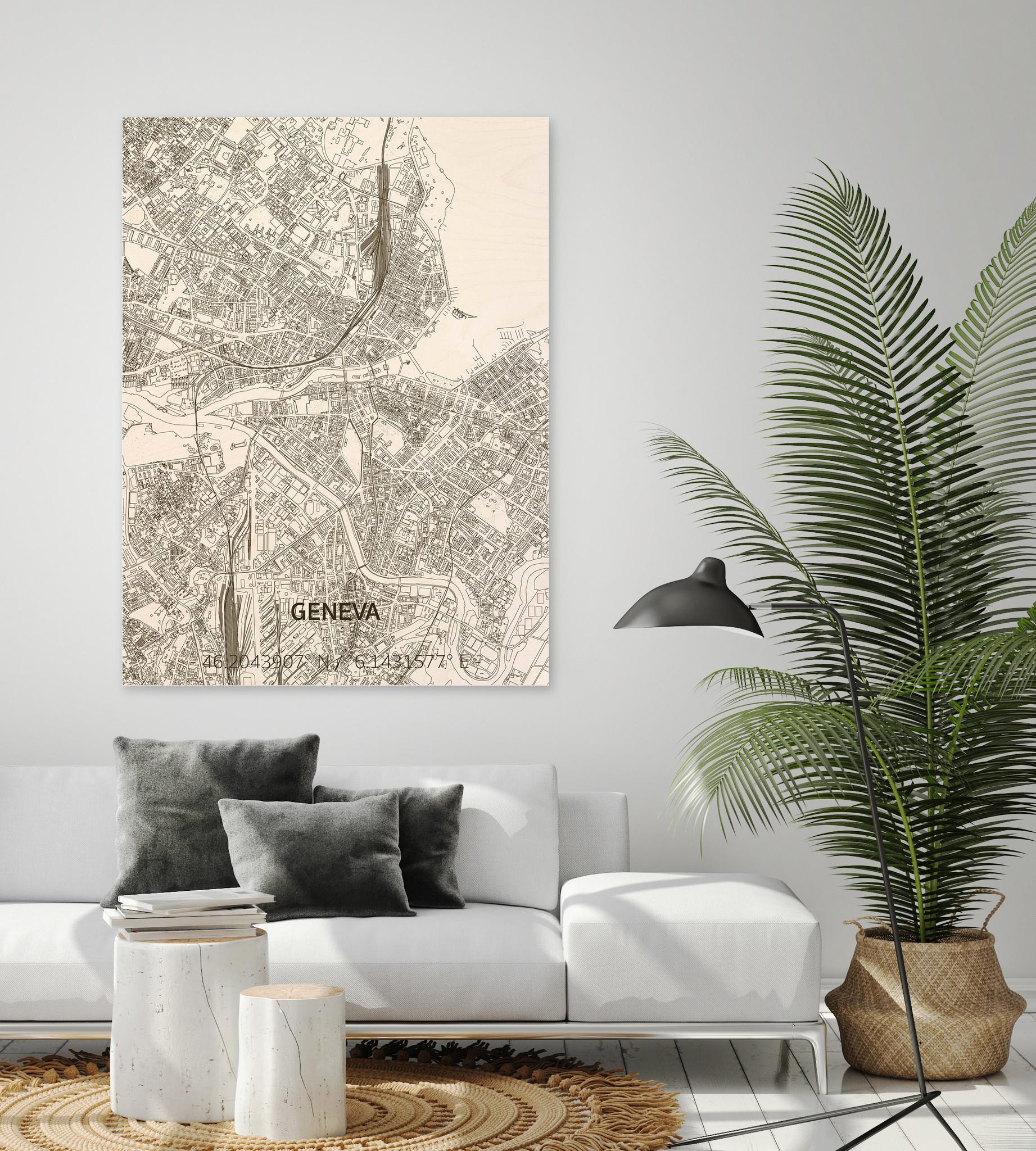 Stadtplan Genf | Wanddekoration Holz-2