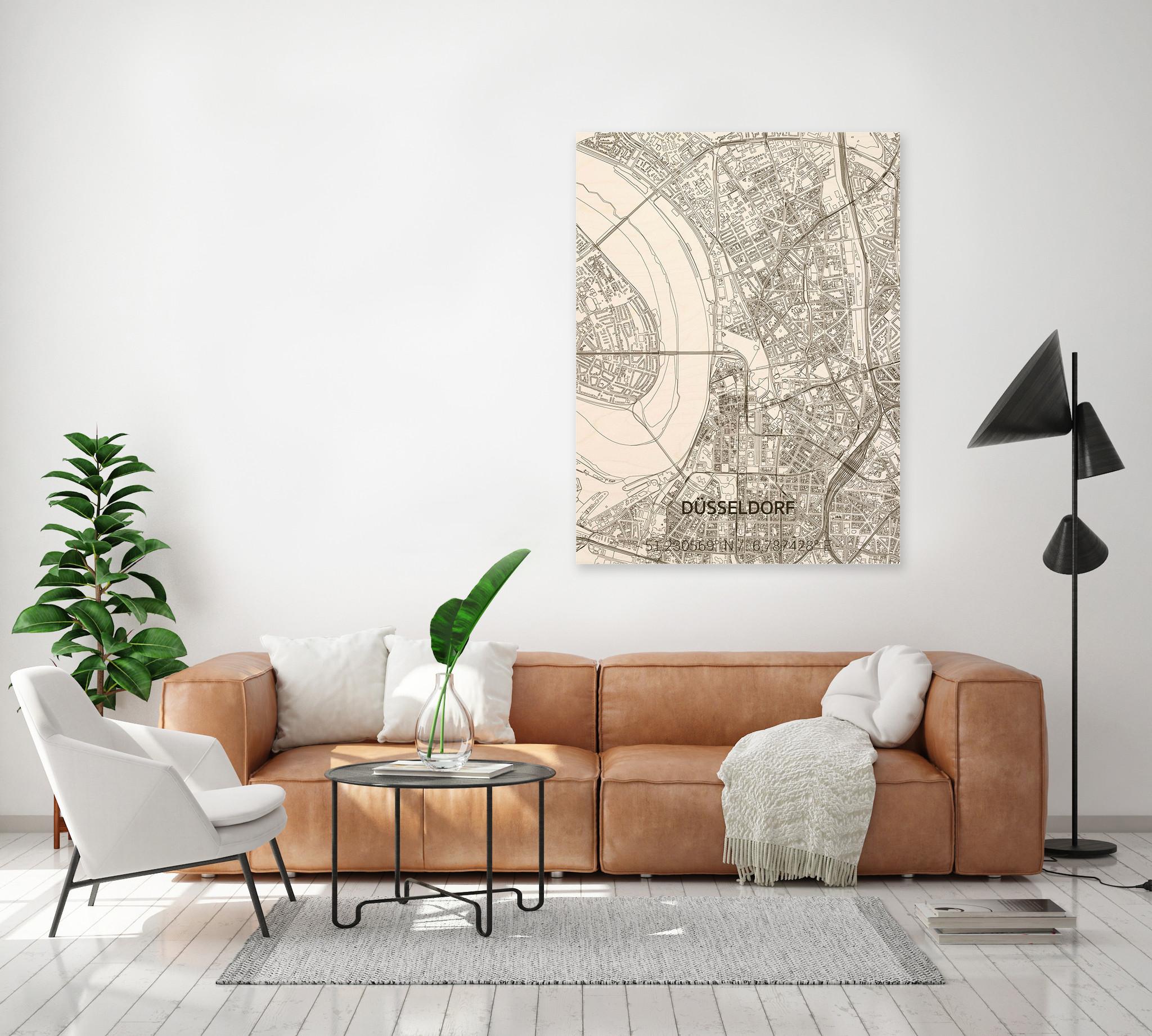 Stadtkarte Düsseldorf | Wanddekoration Holz-2