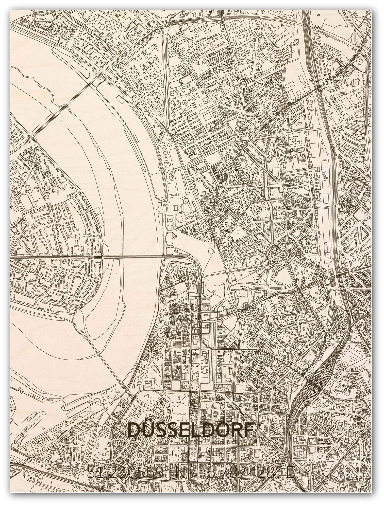 Stadtkarte Düsseldorf | Wanddekoration Holz-1