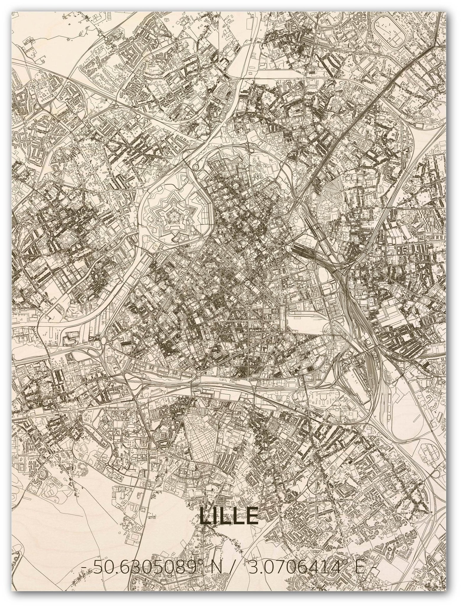 Citymap Lille | wooden wall decoration-1