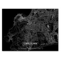 Stadtkarte Kaapstad | Aluminium Wanddekoration