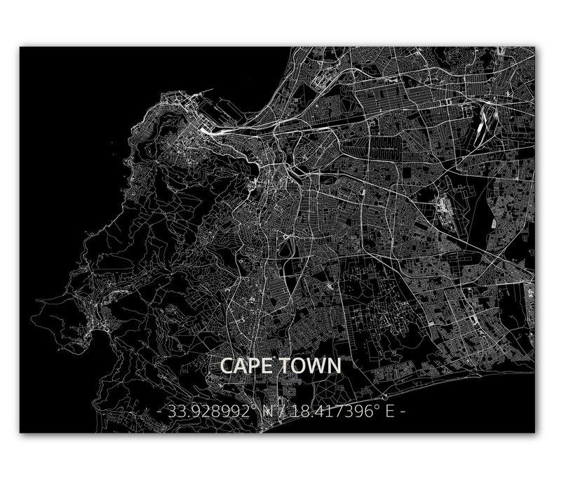 Stadtkarte Kapstadt | Aluminium Wanddekoration