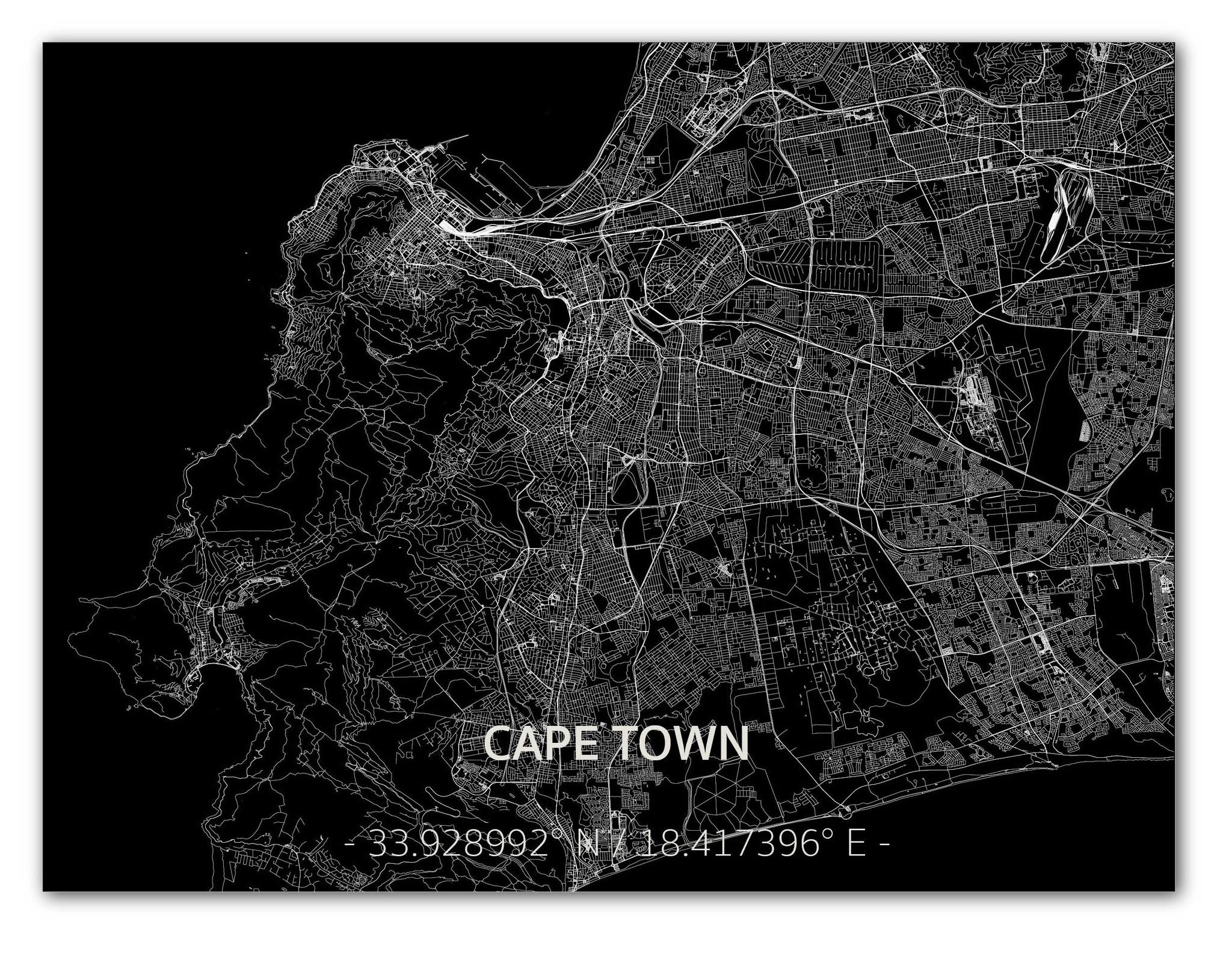 Citymap Kaapstad | Aluminium wanddecoratie-1