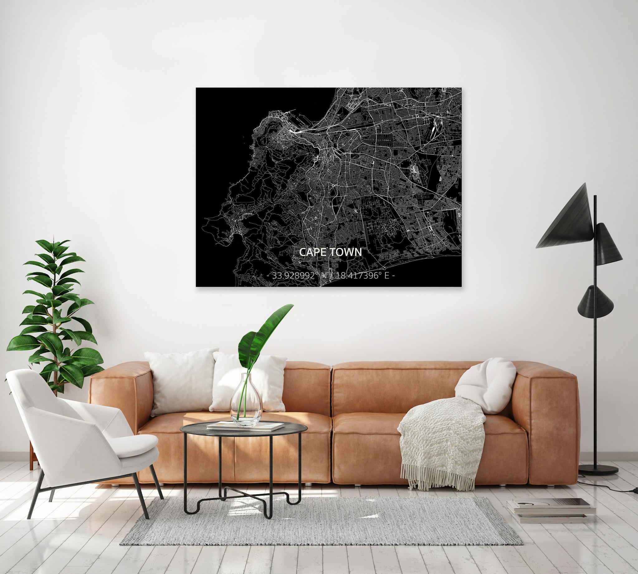 Citymap Kaapstad | Aluminium wanddecoratie-2