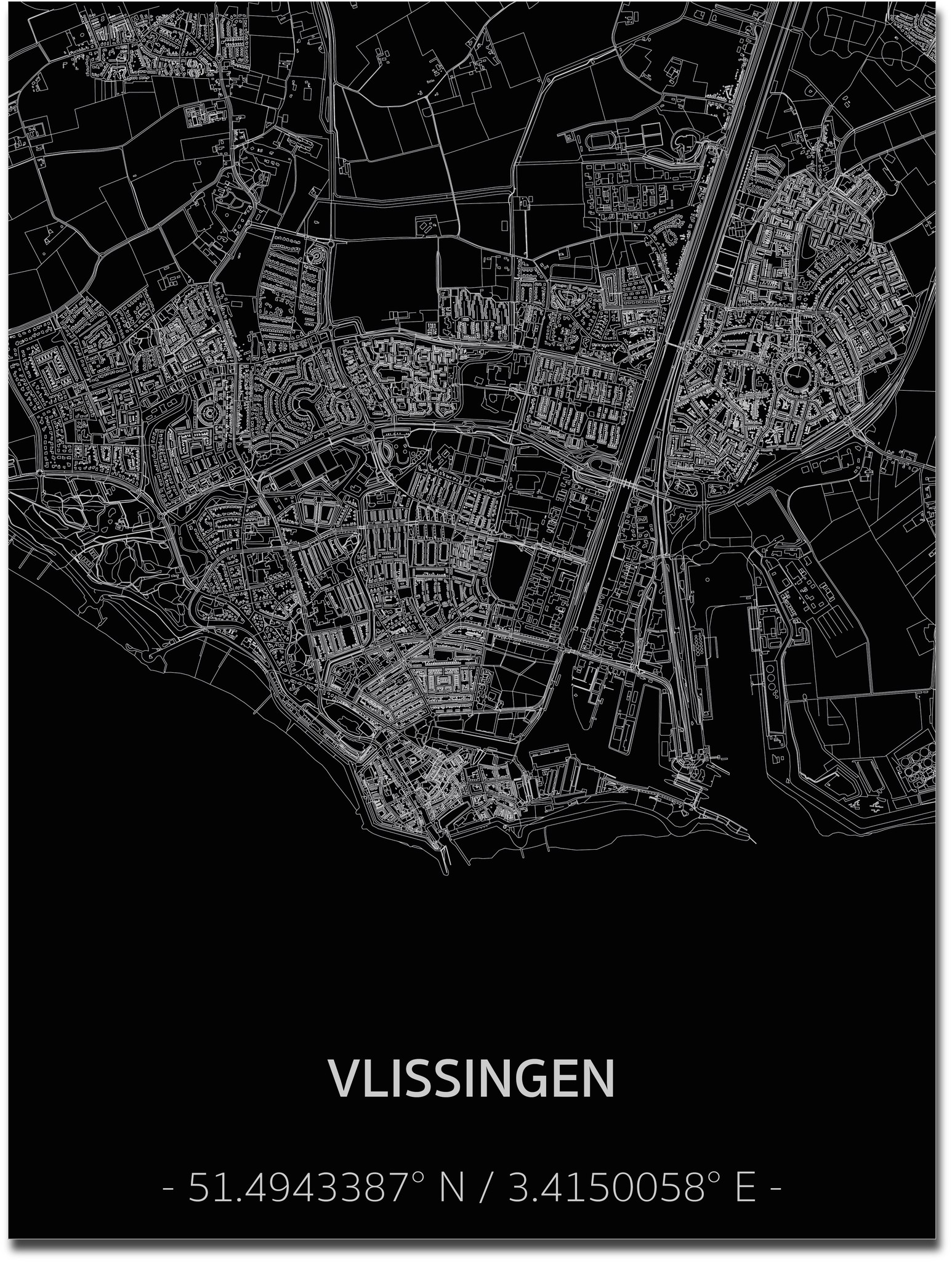 Citymap Vlissingen | Aluminium wanddecoratie-1