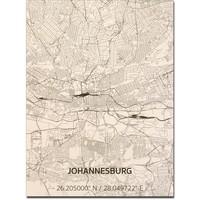 Stadtplan Johannesburg | Wanddekoration Holz