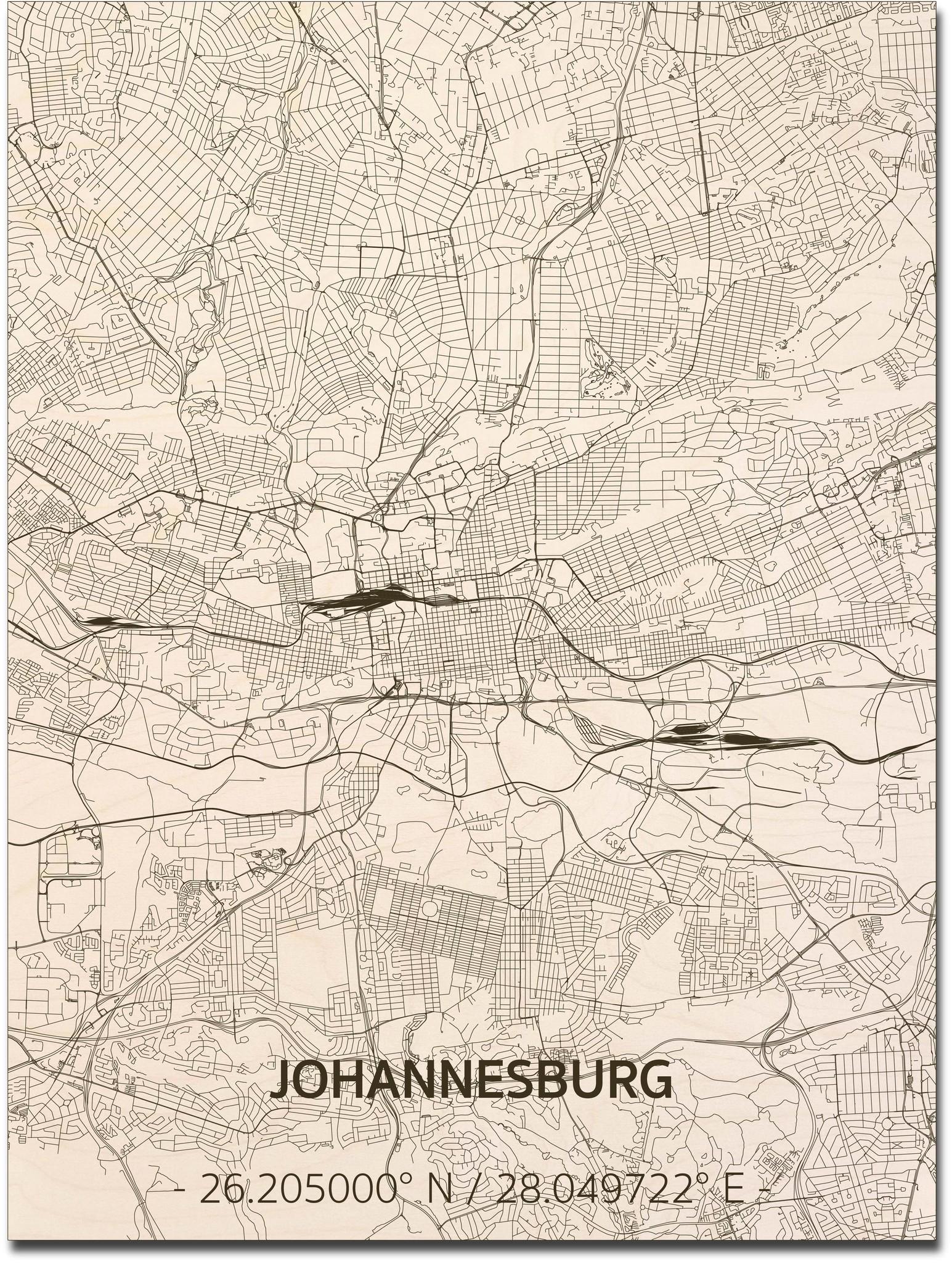 Citymap Johannesburg | houten wanddecoratie-1