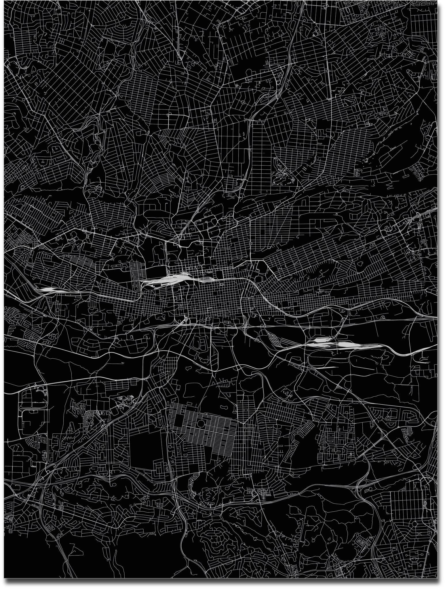Citymap Johannesburg | Aluminium wanddecoratie-3