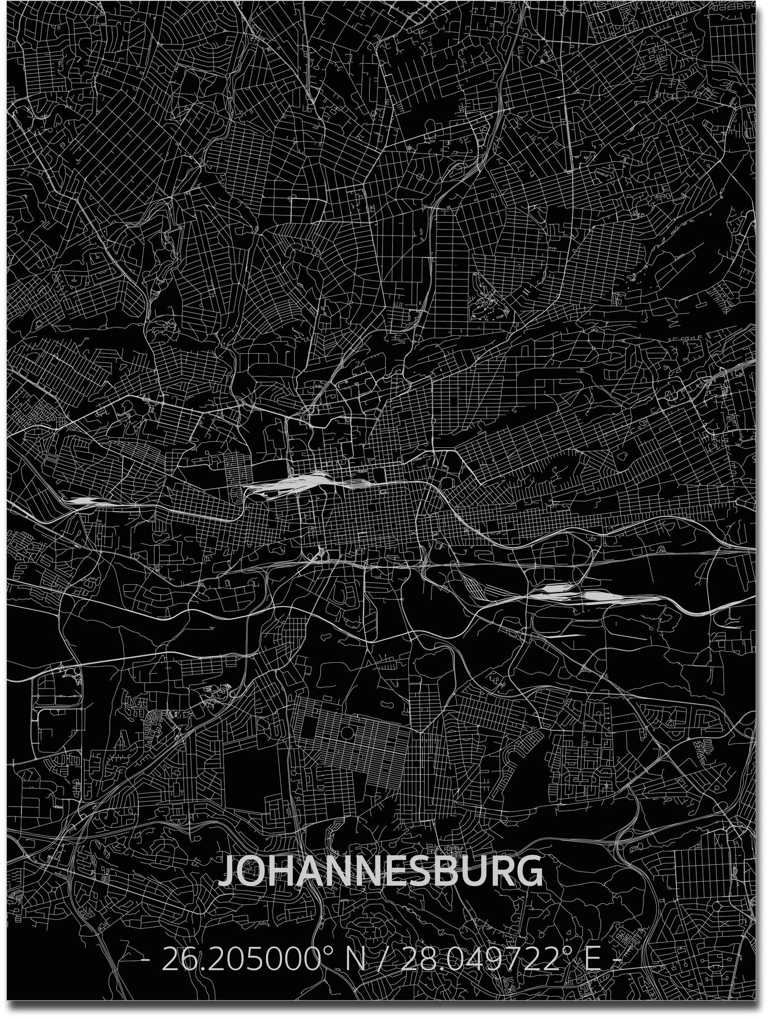 Citymap Johannesburg | Aluminium wanddecoratie-1