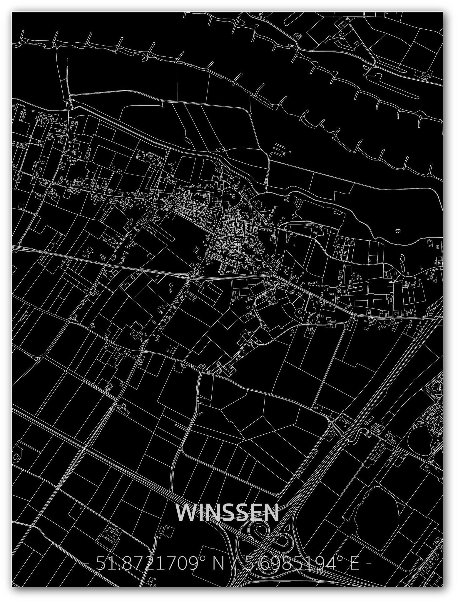 Citymap Winssen | Aluminium wanddecoratie-1