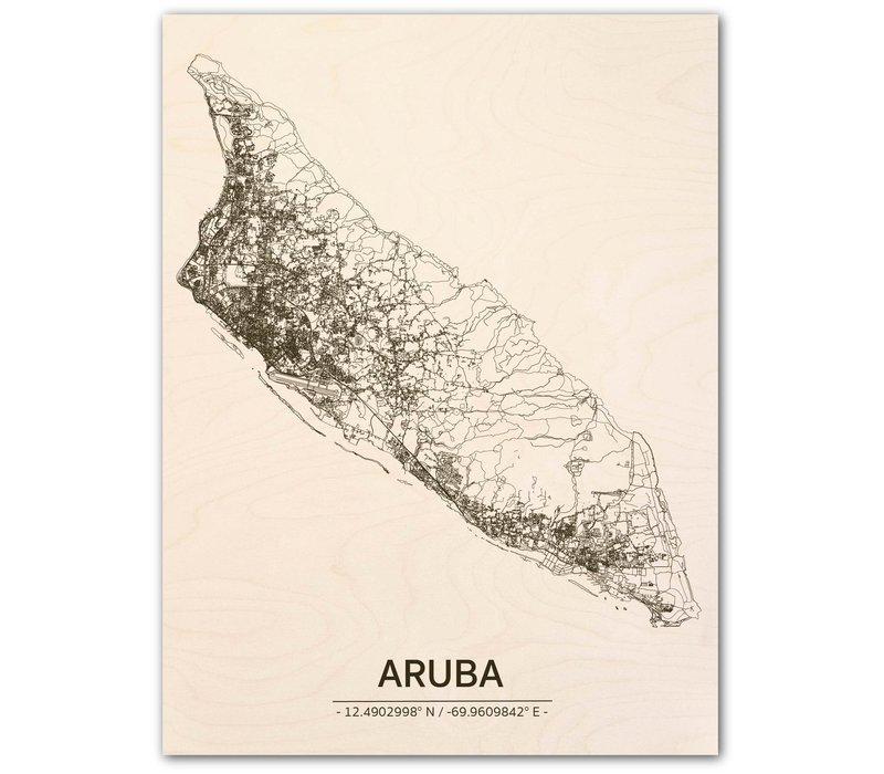 Citymap Aruba | wooden wall decoration