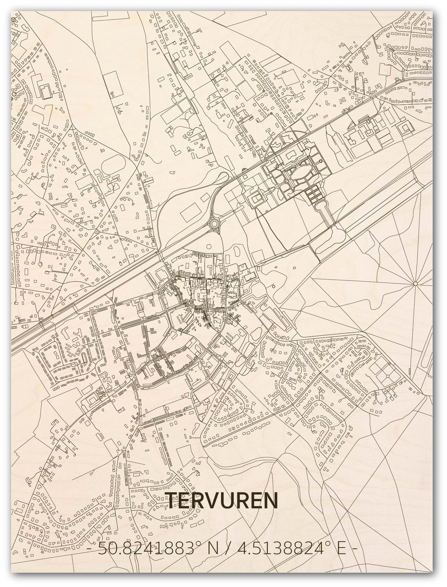 Stadtplan Tervuren | Wanddekoration Holz-1
