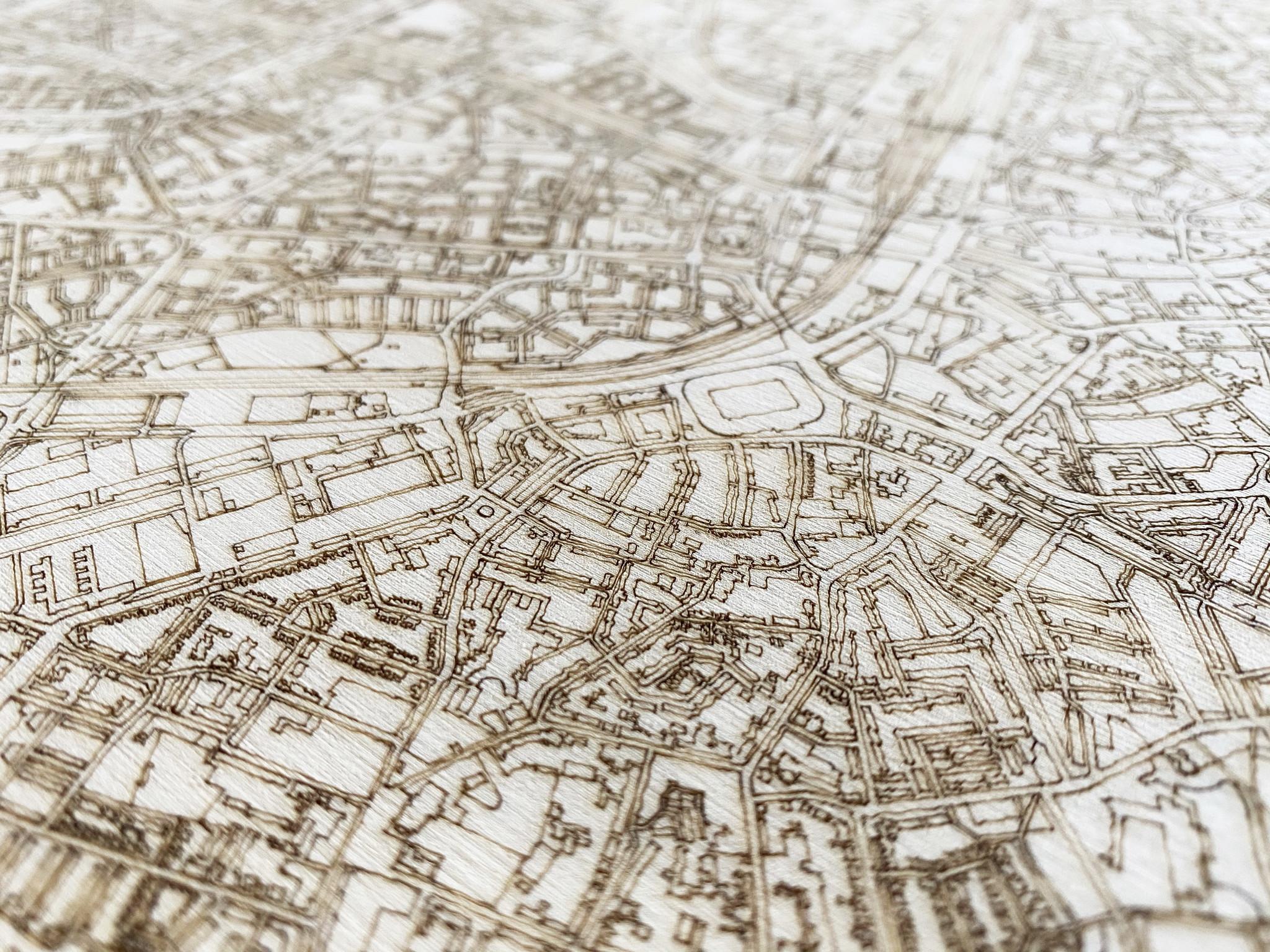 Stadtplan Santiago | Wanddekoration Holz-4